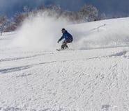 Snowboarder rozdziera w świeżego śnieg Fotografia Stock