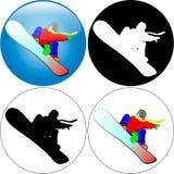 Snowboarder-salto Fotos de Stock Royalty Free