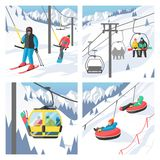 Snowboarder sitting in ski gondola and lift Stock Images