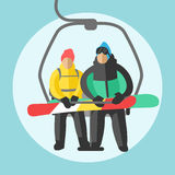 Snowboarder sitting in ski gondola and lift elevators. Winter sport resort background Royalty Free Stock Photography