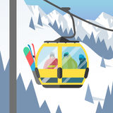 Snowboarder sitting in ski gondola and lift elevators winter sport resort snowboard people rest lifting jump vector Stock Photos