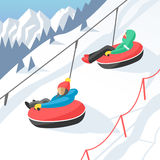 Snowboarder sitting in ski gondola and lift elevators winter sport resort snowboard people rest lifting jump vector Stock Images