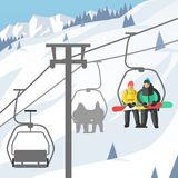 Snowboarder sitting in ski gondola and lift elevators winter sport resort snowboard people rest lifting jump vector Royalty Free Stock Images