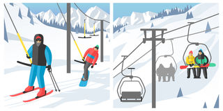 Snowboarder sitting in ski gondola and lift elevators winter sport resort snowboard people rest lifting jump vector Royalty Free Stock Photos
