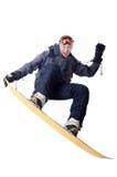 Snowboarder skacze Obrazy Royalty Free