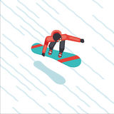 Snowboarder skating from mountain. Flat style cartoon vector. Top view. Stock Photo