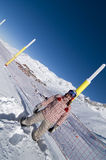 Snowboarder in ski resort. Image of snowboarder standing in the snow Royalty Free Stock Photo