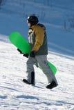 Snowboarder on ski slope Royalty Free Stock Photo