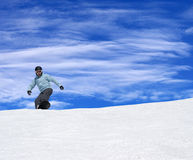 Snowboarder on ski slope Royalty Free Stock Images