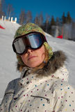 Snowboarder on ski slopes Stock Image