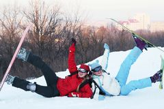 Snowboarder. The snowboarder and skier stock photography