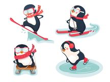 Active penguins in winter. Snowboarder, skier, ice skater and luger vector illustration. Active penguins in winter Royalty Free Stock Photo