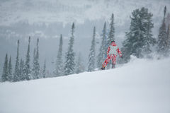 Snowboarder skiing in high mountains. Royalty Free Stock Image