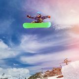 Snowboarder in sky Royalty Free Stock Photos