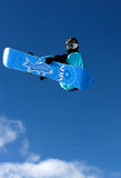Snowboarder in the sky. Stock Photography