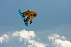 Snowboarder in the sky. Stock Image