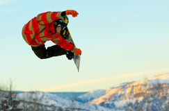 Snowboarder in the sky. Royalty Free Stock Photos