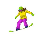 Snowboarder sliding down, female snowboarding Royalty Free Stock Images