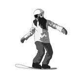 Snowboarder sliding down, female snowboarding Royalty Free Stock Photography