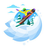 Snowboarder Sliding Down Hill, Man Snowboarding Stock Images
