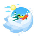 Snowboarder Sliding Down Hill, Man Snowboarding Royalty Free Stock Image