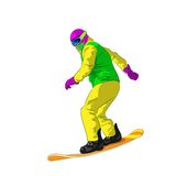 Snowboarder sliding down, man snowboarding Royalty Free Stock Photo