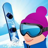 Snowboarder on the slope Stock Photo