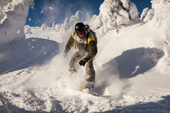 Snowboarder on the slopes Stock Photos