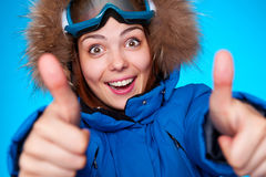 Snowboarder smiling Royalty Free Stock Image