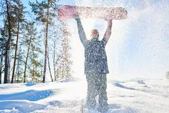 Snowboarder in Snow royalty free stock image