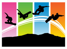 Snowboarder with snowboard in jump vector backgrou Stock Photography