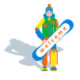 Snowboarder and snowboard. Snowboarder in winter clothes holding hands and smiling snowboard Stock Photos