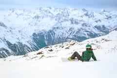 Snowboarder, Solden, Austria, deporte de invierno extremo imágenes de archivo libres de regalías