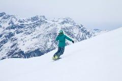 Snowboarder, Solden, Austria, deporte de invierno extremo imagen de archivo libre de regalías