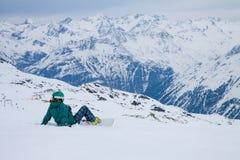 Snowboarder, Solden, Austria, extreme winter sport Stock Photo