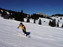 Snowboarder som har gyckel Arkivbilder