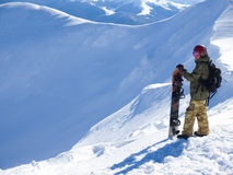 Snowboarder with Splitbord in the mountains. Royalty Free Stock Photography