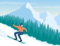 Snowboarder su fondo delle montagne e degli alberi illustrazione vettoriale