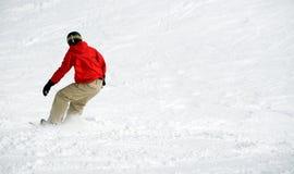 Snowboarder su neve. Lotti di spazio Fotografie Stock Libere da Diritti