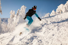 Snowboarder sui pendii Fotografia Stock
