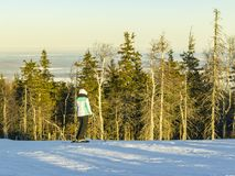 Snowboarder on the top of the slope. Is preparing to go down Royalty Free Stock Photos