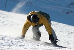 Snowboarder turn Stock Images