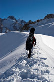 Snowboarder uphill for freeride. In hight mountain Stock Image