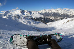 Snowboarder - view from the top of the mountain Stock Images