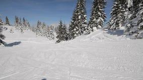 Snowboarder voert trucs uit stock footage
