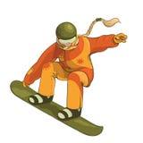 Snowboarder während eines Sprungsendstückzupackens lokalisiert auf dem weißen Hintergrund Lizenzfreies Stockbild