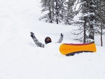 Snowboarder w śnieżnym dryfie Obrazy Stock