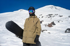 Snowboarder w górach Obrazy Royalty Free