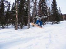 Snowboarder w skoku Zdjęcie Stock
