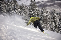 Snowboarder woman enjoy freeride on fresh powder snow Stock Image